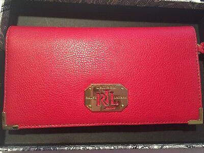NEW Ralph Lauren ACADIA  WALLET Red Ladies Purse Best Gift Brand Holidays