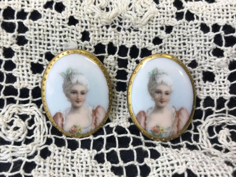 Antique Victorian Miniature Portrait Cameo Cufflinks Set, Buttons, Brooch Plaque