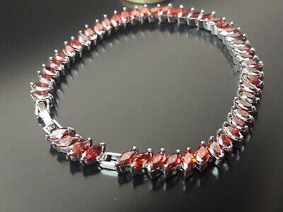 Pulsera Rodio con cristales rojos bisuteria abalorios pulseras plateada moda