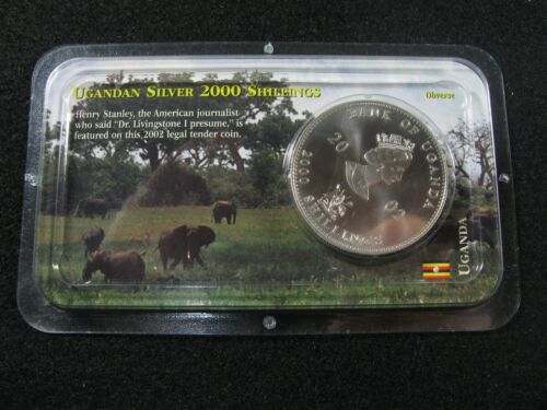 2002 Bank of UGANDA - 2000 Shillings  - SILVER COIN! - Henry Stanley