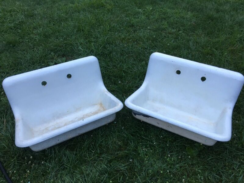 Pair of Antique Cast Iron High-Back Sanitary Farm Sinks