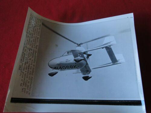 Vintage Original Aviation Helicopter Press Photo Autogyro McCulloch 1968