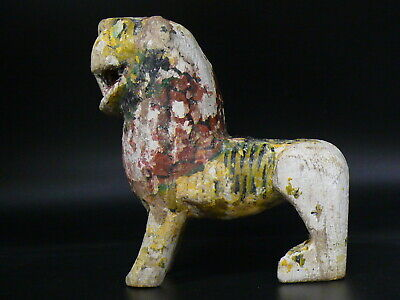 (uN558a) Tibet: Old Tiger in polychrome wood, decorative figure in temples