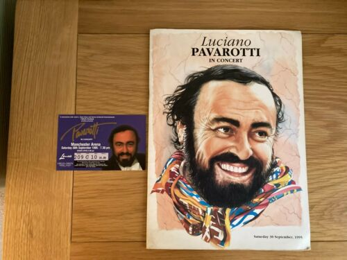LUCIANO PAVAROTTI IN CONCERT PROGRAMME MANCHESTER 1995 + TICKET STUB