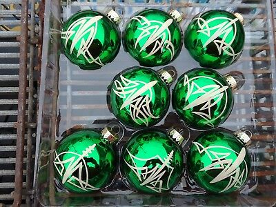 Pinstriped Christmas Ornaments Hand Painted 8 pc Glass Hot Rat Rod Low Brow Art ()