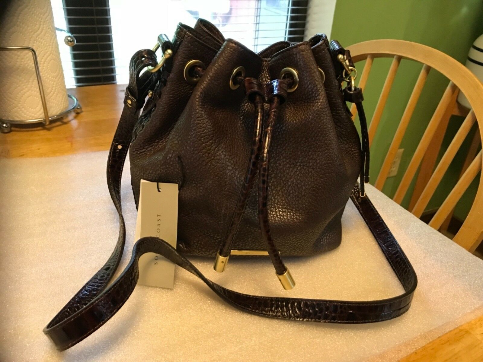 $355 NWT BRAHMIN ISABELLE BROWN LAFAYETTE LEATHER DRAWSTING