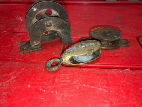 (3) Antique Boat Hardware Brass Pulley Pulleys Yacht Sail Decor Deck Dock