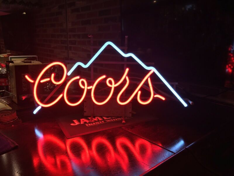 Vintage Hard To Find Coors Beer 1987 Everbrite Neon Glass Tube Sign Bar Light