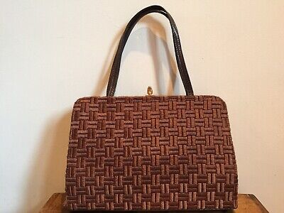 Woman's Vintage Retro Brown Embroider Box Style Kelly Bag With Gold Clasp Mod❤️