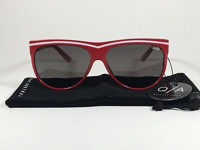 Quay Hollywood Nights Shield Sunglasses Red Plastic Frame Gray Smoke Lens Women