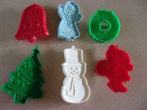 Lot 6 Hallmark cookie cutters  Christmas Winter  VINTAGE Snowman Angel Wreath