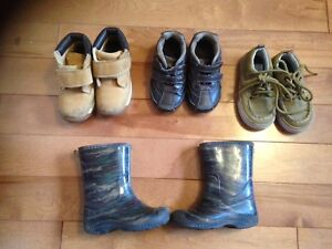 Boys size 7 shoes and rain boots