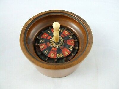 Antique Roulette Wheel Wood Miniature Gambling Device Game Victorian Treen c1880