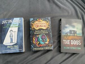 3 Childrens/Young Adult books! Justin Case, The Dogs, dragon