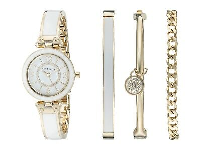 Anne Klein AK/2016WTST Swarovski Crystal Accented Gold-Tone & White Bracelet Set