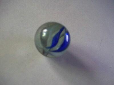 Lauscha Glasmurmel Farbe blau-weiß  1,5  cm  Original 1945-1970