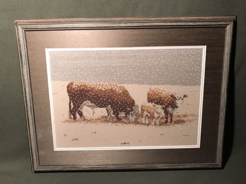 Hereford Cattle Snow Scene Embroidered Picture Completed & Nicely Framed