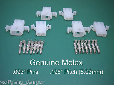 "2 Pin Molex Connector - Set of 3 Complete 2 Circuit Connectors with .093"" Pins"