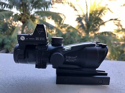ACOG 4X32 Scope Green Chevron Reticle Illuminated Optical Sight With Top RMR