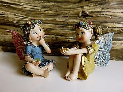 "2 Miniature Fairies Village Ornaments Figurines Set one 1.25"" H. Resin New"