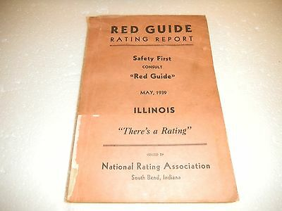Vintage Illinois 1939 Book RED GUIDE RATING REPORT-Illinois 1939