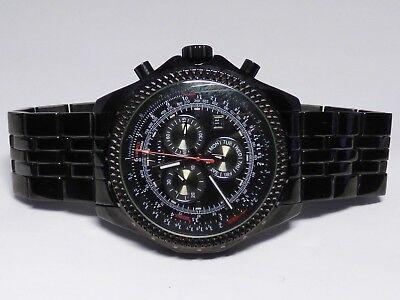 Akribos XXIV AK517BLK Swiss Quartz Chronograph Tachymeter Day Date Mens Watch