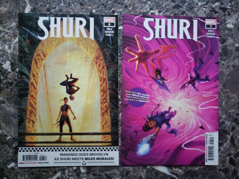 Shuri 6 and 7 first print main cover miles morales appearance ms marvel