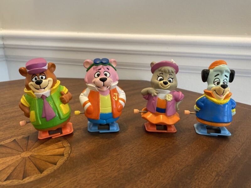 Set of 4 - 1992 Yogi Bear & Huckleberry Hound Wind-Up Toys By Hanna Barbera