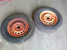 """trailer wheels pair of 13"""" 4 stud and plastic mudguards to suit Capalaba Brisbane South East Preview"""