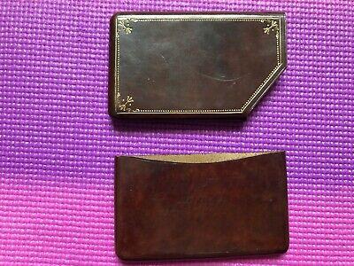 Vintage Brown Leather Business Card Holder