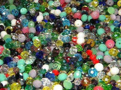 NEW 150/Pc LOT 6-8mm RONDELLE GLASS Faceted Czech Beads Mixed colors (USA2)
