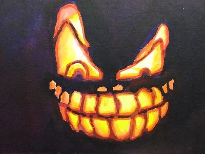 Watercolor Painting Halloween Pumpkin Jack O Lantern Face Candle Light ACEO Art - Face Painting Halloween Pumpkin