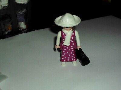 PLAYMOBIL  VICTORIAN FEMALE  FIGURE, WITH HAT, SCARF AND BAG    V.G.C.