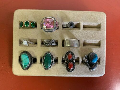 Set Of (10) Sterling Silver Rings Assorted Styles Sizes 7 & UNDER Lot #31