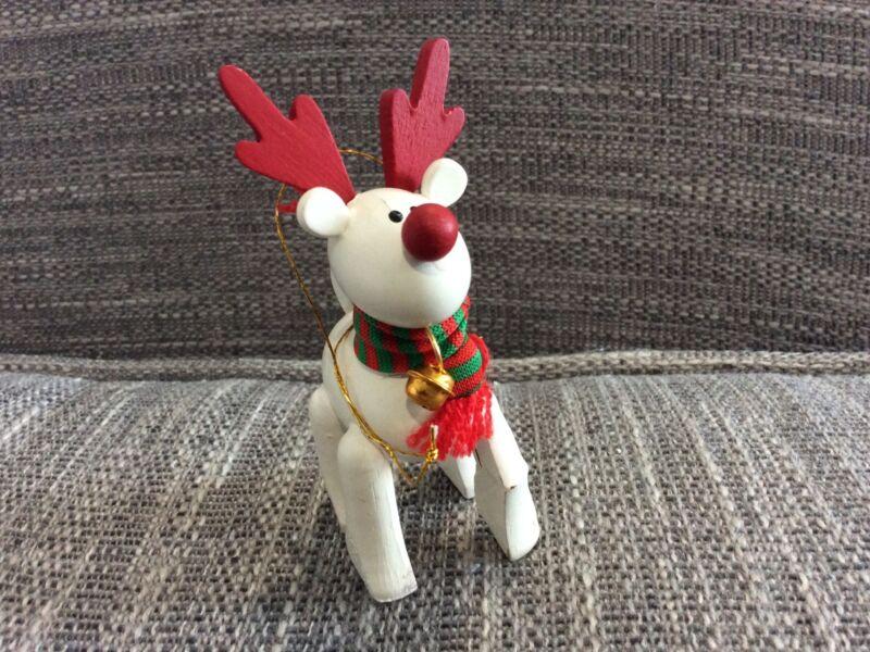 Vintage White Wooden Rudolph Reindeer Ornament