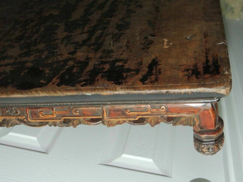 """Antique Hardwood 39"""" Burled Table Top Hand Carved Chinese Qing 19th earlier Wood"""