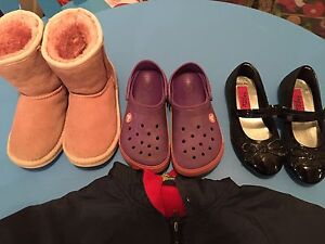 Crocs + Huggs +  balerina shoes + spring coat = 20$