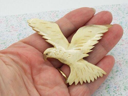 Vintage or Antique Scottish Carved Horn Brooch as an Eagle