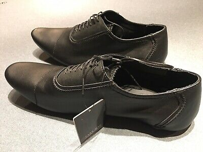 Zara Mens Oxford Black Leather Shoe Size 10