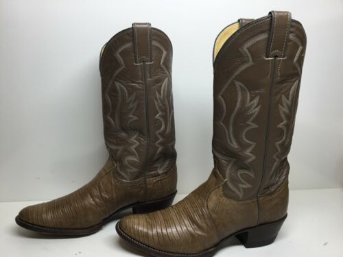 VTG, MENS, JUSTIN, COWBOY, LIZARD, SKIN, LEATHER, BROWN, BOOTS, SIZE, 8.5, D