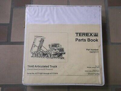 Terex Ta40 Articulated Rear Dump Truck Hauler Factory Parts Catalog Manual