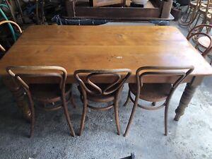 Huon pine antique farmhouse dining table