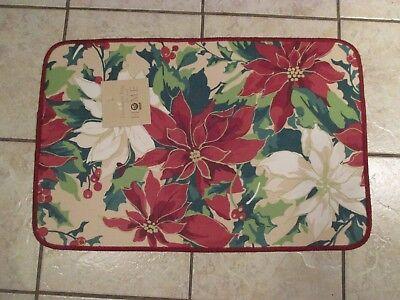 Christmas Poinsettia Holiday Kitchen Door Floor Mat Rug Rectangle 28
