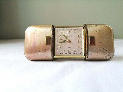 Vintage Europa 1930s Art Deco Style Travel Alarm Clock 7 Jewels Made in Germany