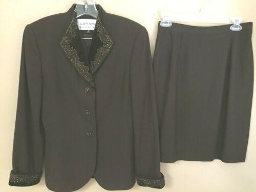 ALBERT NIPON EVENING Size 6 8 Brown Short Skirt Suit Bead Trim Lined GORGEOUS