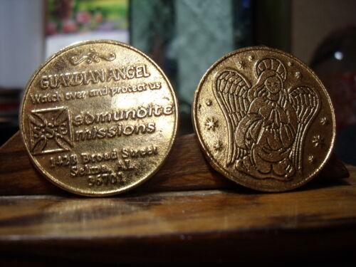 "2- GUARDIAN ANGEL Gold Toned Medals ""EDMUNDITE MISSIONS"" SELMA ALABAMA"