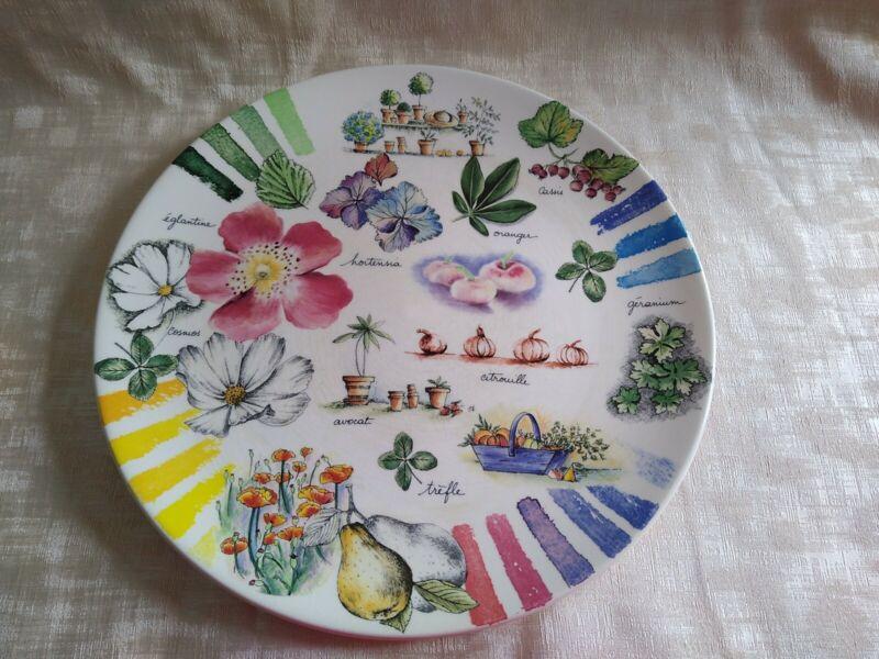 "Gien Couleurs Du Temps Cake Plate 12"" Serving Plate Made in France ESTATE FIND"
