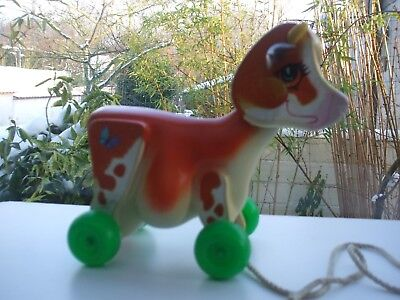 VINTAGE JOUET  VACHE  A TIRER  FISHER PRICE 1972