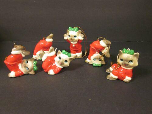 Vintage Set of 6 Kittens Tumbling Frolicking Cats Pajamas Ornaments NIB MY Korea