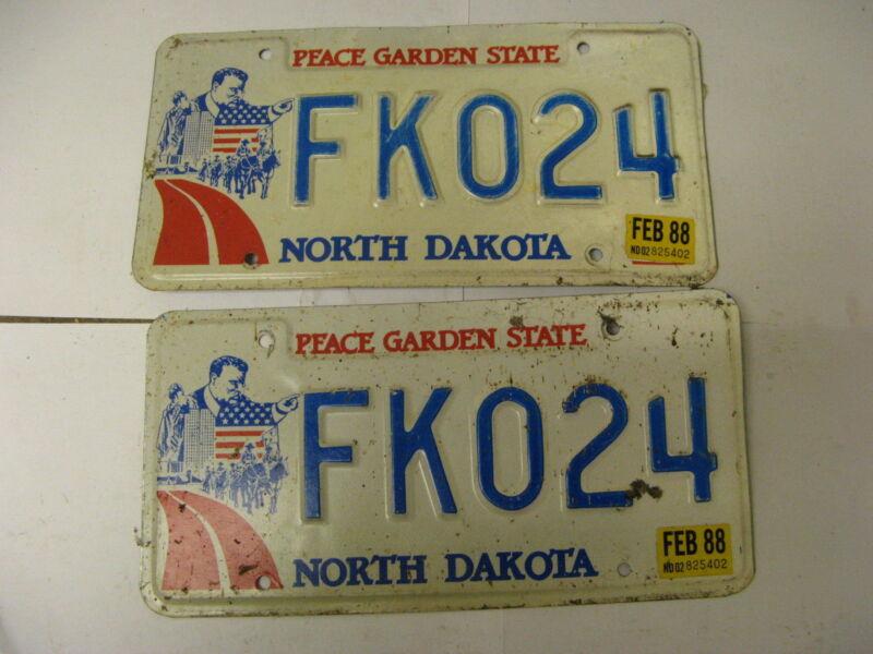 1988 88 North Dakota ND License Plate FK024 Pair